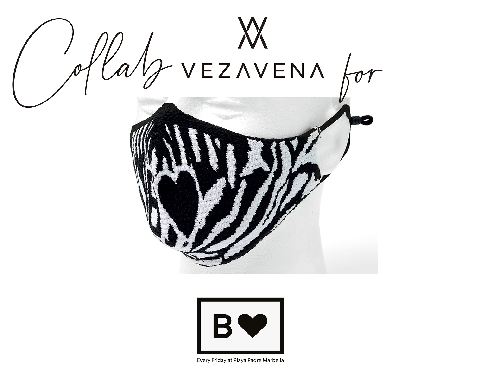 Mask Vezavena & Black Heart Zebra